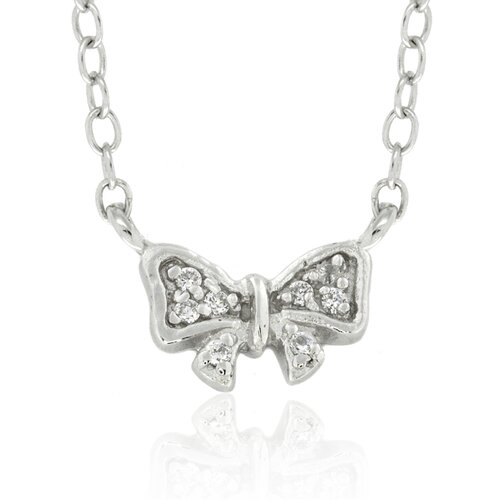 Gem Jolie Sterling Silver Cubic Zirconia Bow Necklace