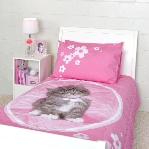 So Sweet Kitten Twin Quilted Comforter Set