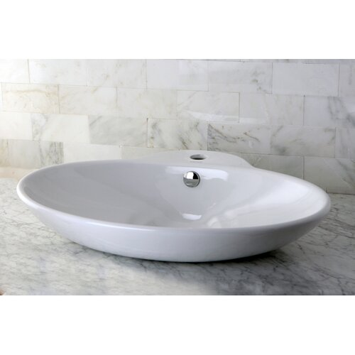 Oliva China Vessel Bathroom Sink with Overflow Hole and Faucet Hole