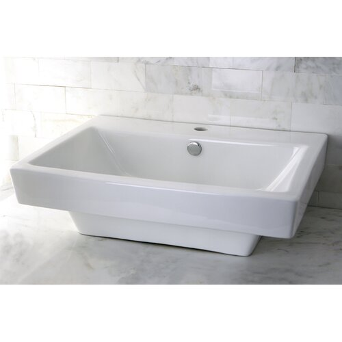 Plaza China Vessel Bathroom Sink with Overflow Hole and Faucet Hole
