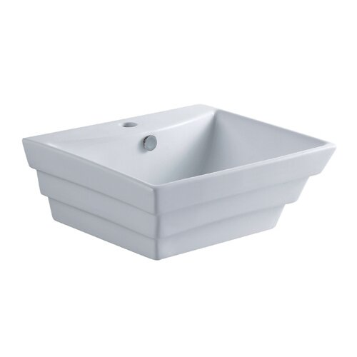 Kingston Brass Tahoe White China Vessel Bathroom Sink with Overflow Hole and Faucet Hole