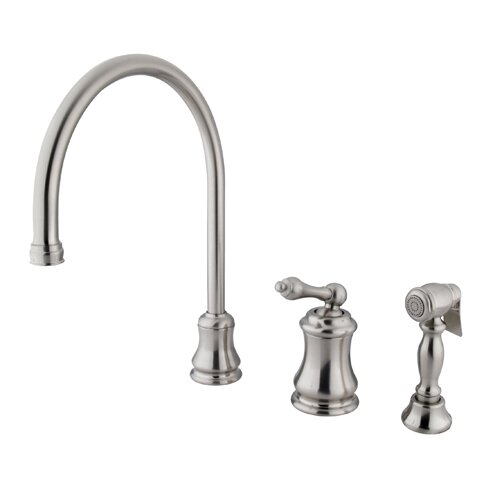 Restoration Single Handle Widespread Kitchen Faucet with Brass Sprayer