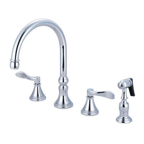 NuFrench Double Handle Deck Mount Kitchen Faucet with Brass Spray