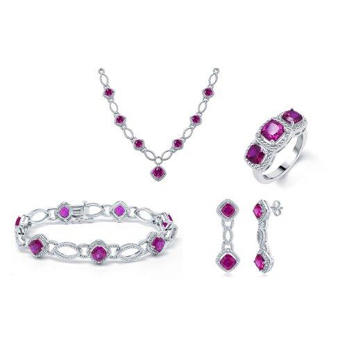 Brass Gemstone Necklace, Bracelet, Ring and Earring Set