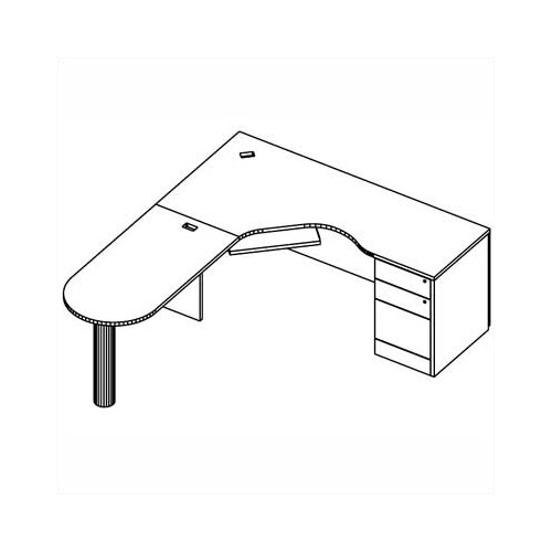 """Global Total Office Adaptabilities """"D"""" Island Desk Shell with Post"""
