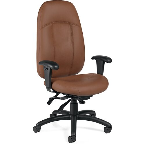 Global Total Office High-Back Leather Multi-Tilter Office Chair with T-Arms