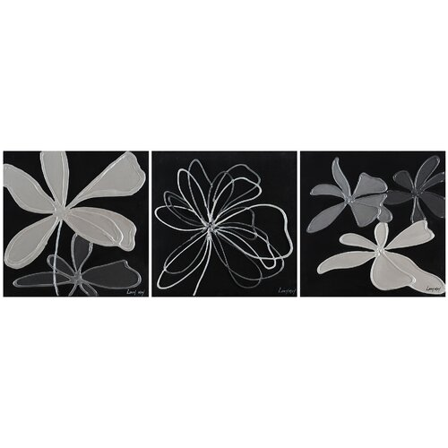Grayscale Garden by Loocy May 3 Piece Painting Print on Canvas Set