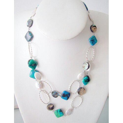 2 Layer Silver Chain Necklace with White Cultured Pearls, Chrysocolla and Shells
