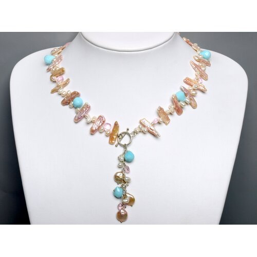 Cultured White and Pink Pearl Necklace with Gemstones