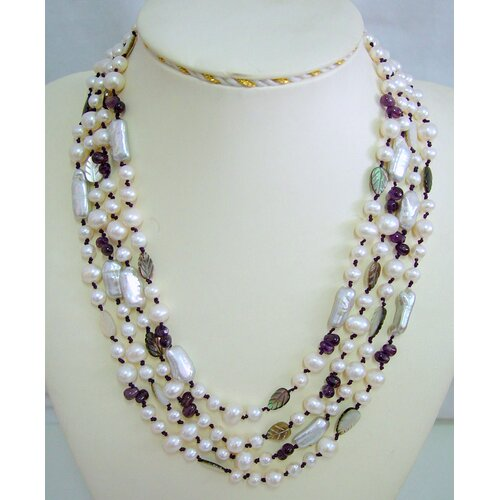 Multi-Strand White and Silver Cultured Pearl Necklace Crafted on Purple Thread with Amethyst ...