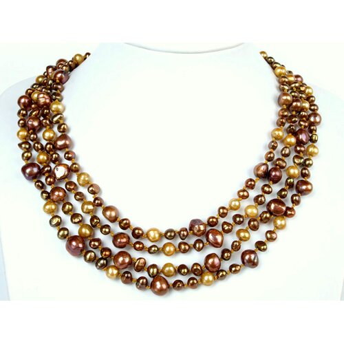 Multi-Strand Gold and Chocolate Cultured Pearl Necklace Crafted on Gold Thread with Flower ...