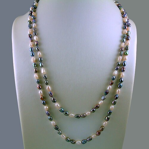 Long Strand Cultured Peacock and White Baroque Pearls Necklace