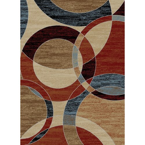 Manhattan Dark Green Copper Circles Rug