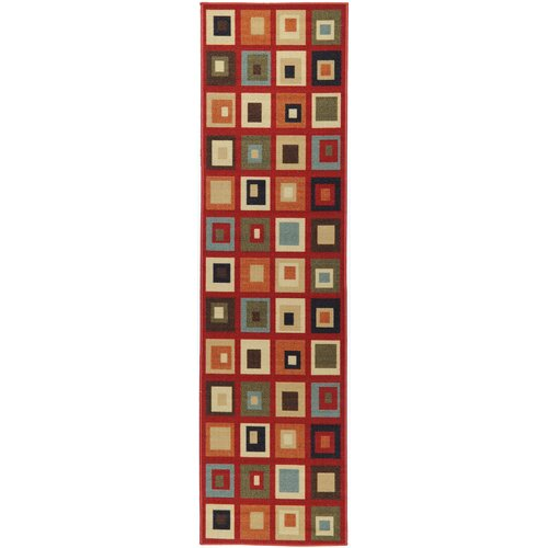 Ottohome Dark Red Boxes Rug