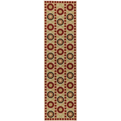 Ottohome Dark Red Circles Rug