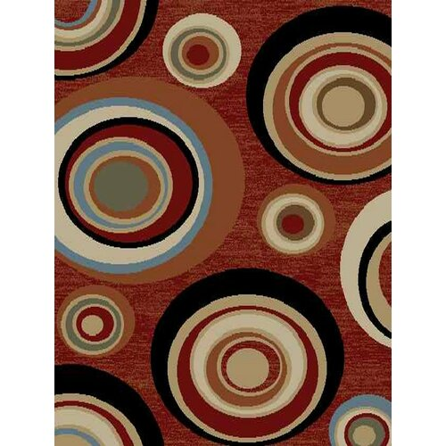 Royal Dark Red Abstract Rug