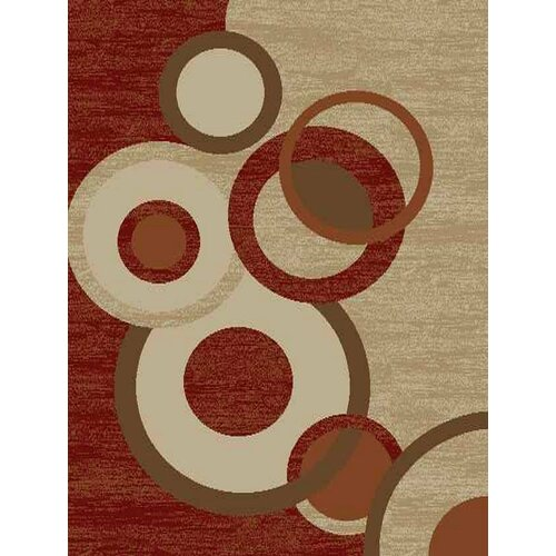 Royal Dark Red Circles Rug