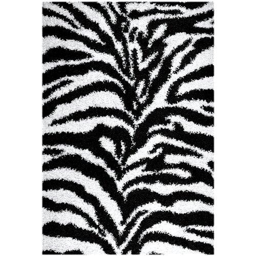 Ottomanson Ultimate Shaggy Black/Ivory Animal Print Zebra Rug
