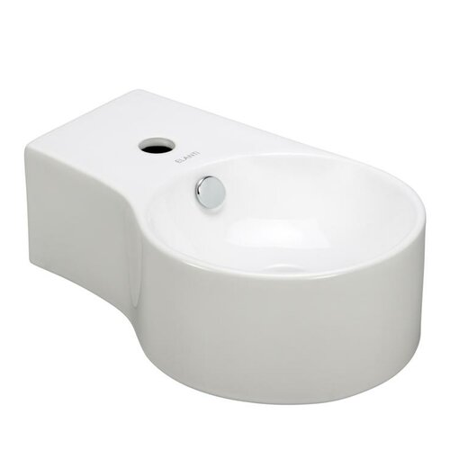 Porcelain Round Wall Mounted Deep Bowl Right Facing Sink
