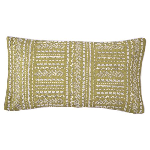Grandiflora Line Embroidered Decorative Pillow