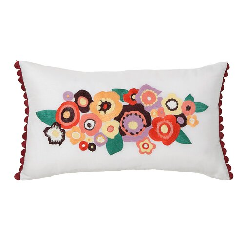 Grandiflora Floral Embroidered Decorative Pillow