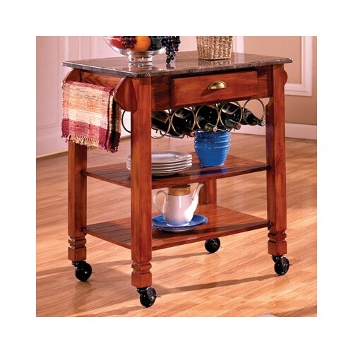 Bernards Kitchen Island with Marble Top