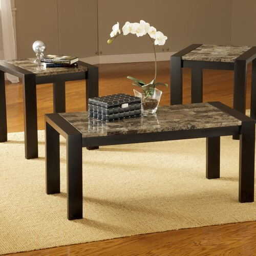 Bernards Faux Marble 3 Piece Coffee Table Set & Reviews