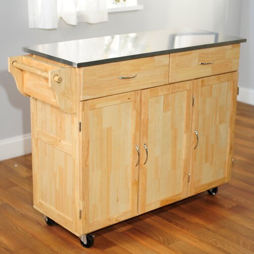 Extra Large Kitchen Cart with Stainless Steel Top