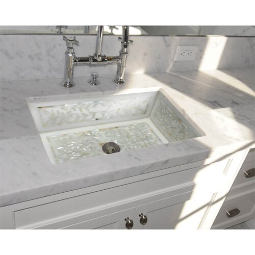 Linkasink Floral Mother of Pearl Inlay Undermount Bathroom Sink