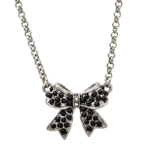 Bead Studded Bow Crystal Pendant Necklace