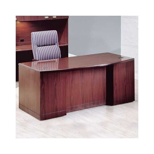 "High Point Furniture Vitality 72"" W 3/4 Double Pedestal Bow Front Executive Desk with Drawers"