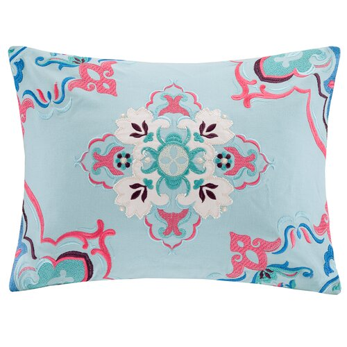 Intelligent Design Medallion Embroidered Oblong Pillow