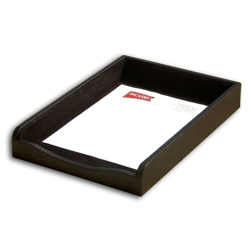 Dacasso 2000 Series Crocodile Embossed Leather Front-Load Legal Tray in Black