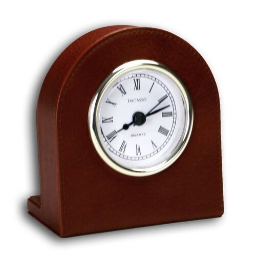 1000 Series Classic Leather Clock with Gold Insert in Mocha