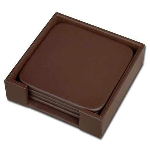 Dacasso 1000 Series Classic Leather Four Square Coasters with Holder in Chocolate Brown