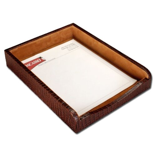 Dacasso 2000 Series Crocodile Embossed Leather Front-Load Letter Tray in Brown
