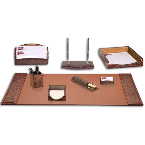 Dacasso Crocodile Embossed Leather 8-Piece Desk Set