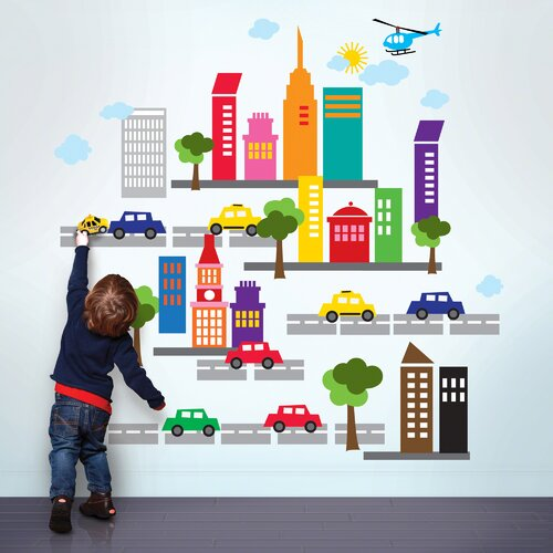 WallCandy Arts WallCandy Arts and French Bull  City Wall Decal 36 Piece Set