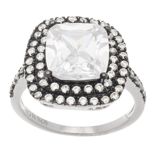 Sterling Silver Square Cut Cubic Zirconia Ring