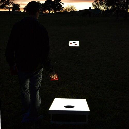 GoSports Premium Light Up LED Cornhole Bean Bag Toss Game Set