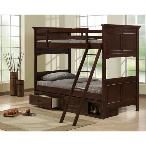 Woodbridge Home Designs Jordan Twin over Full Bunk Bed with Storage