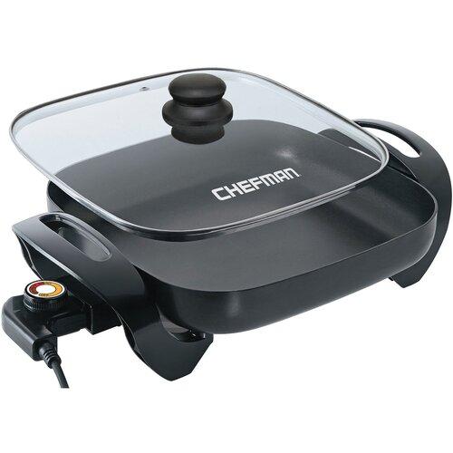 """Chefman 12"""" Dishwasher-Safe Electric Skillet with Lid"""