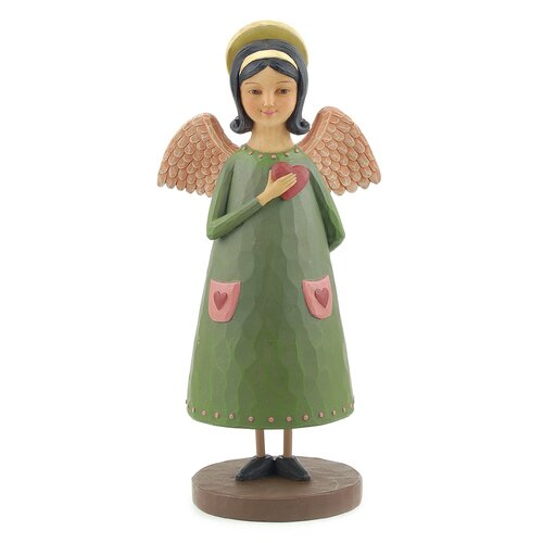 Blossom Bucket Angel with Halo Holding Hand Over Heart Statue