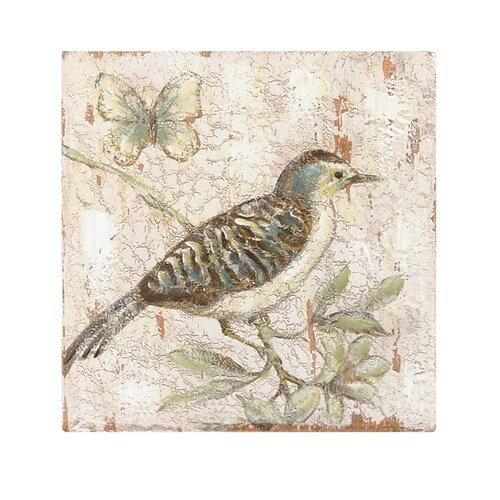 Bird On Branch with Butterfly by Cindy Lowry Wall Art in Beige