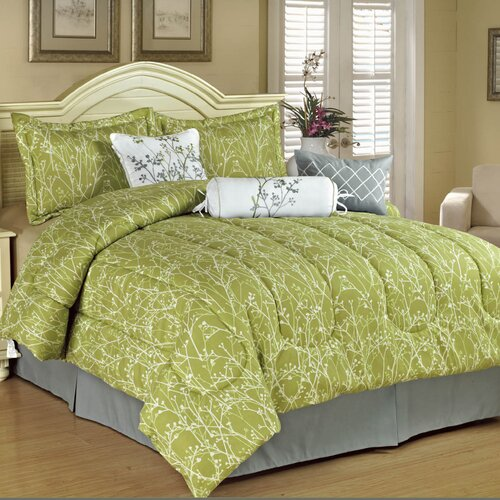 Home and Main 7 Piece Floral Trellis Embroidered Comforter Set