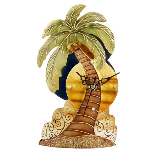 Capiz Shell Desk Palm Tree Clock