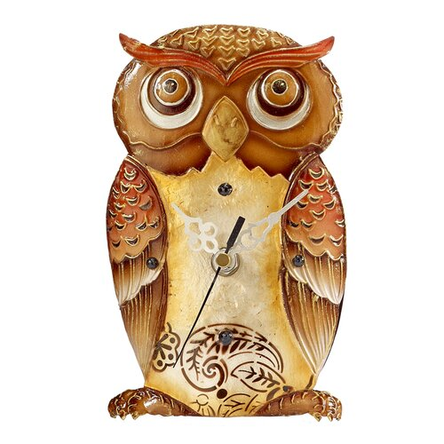 Capiz Shell Desk Owl Clocks