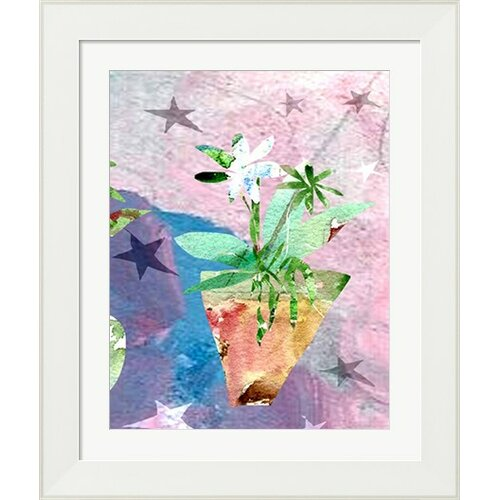 Modern Flower with Stars by Holly Mcgee Framed Painting Print