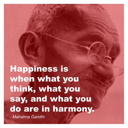 Evive Designs Gandhi - Happiness Quote Graphic Art