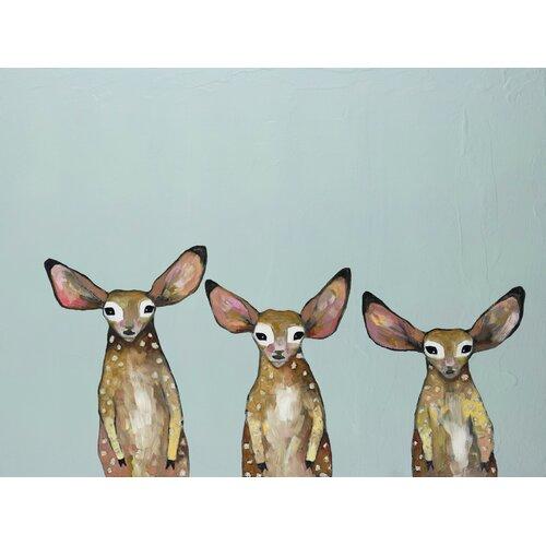 'Fawn Triplets' by Eli Halpin Painting Print